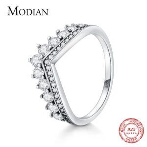 925 Sterling Zircon Crown Ring