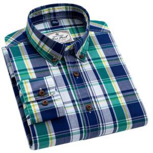 Men Plaid Casual Dress Shirt
