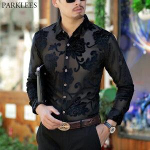 Luxury Transparent Shirt Floral Dress