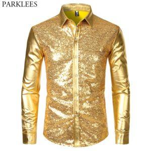 Disco Shiny Gold Sequin Shirts
