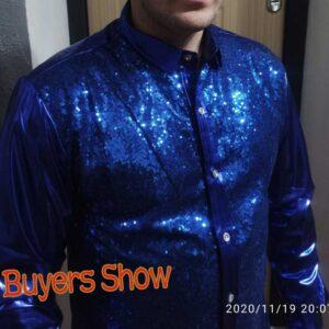 Luxury Royal Blue Sequin Shirts