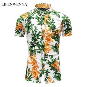Summer Fashion Leaves Print Shirts