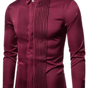 Classic Pleated Men Tuxedo Shirts