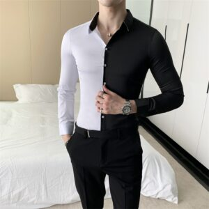 British Style Patchwork Color Shirt