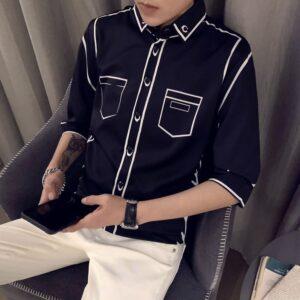 Korean Shirts Slim Fit Streetwear