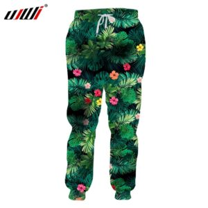 Green Leaves Flowers Summer Trousers