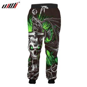 Print Green Skull Horn Sweatpants