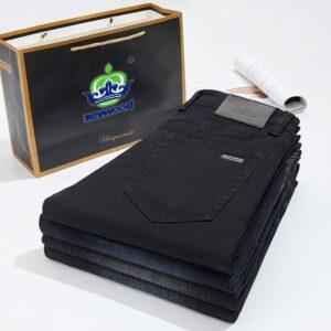 Black Straight Jeans Cotton Trousers