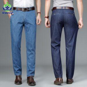 Winter Men Jeans Stretch Trousers