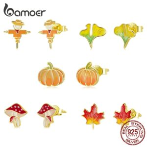 Maple Leaf Mushroom Pumpkin Earrings