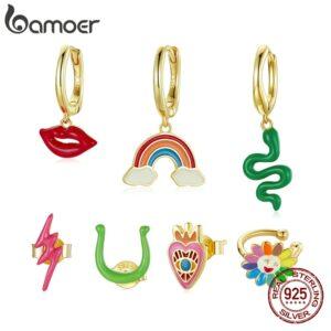 Gold Enamel Rainbow Silver Earring