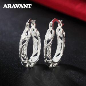 Silver Vintage Flower Hoop Earrings