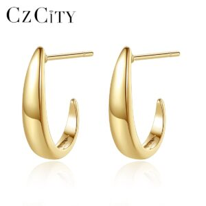 Sterling Silver Golden Hoop Earrings