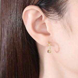 Chain Hollow CZ Hoop Earrings