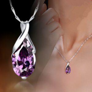 Angel Crystal Purple Pendant Necklace