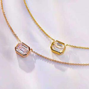 1.5 Carat Square Diamond Pendant Necklace
