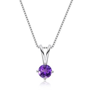 Classic Round Amethyst Pendant Necklace