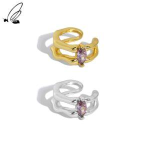 Double Layer Zircon Clip Earrings