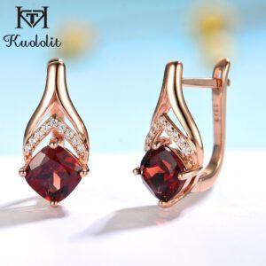 Natural Garnet Luxury Clip Earrings