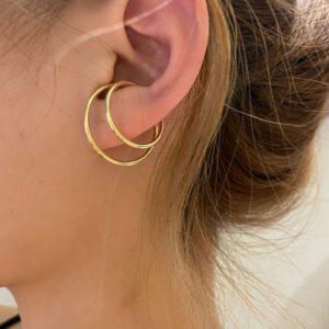 Double Layers Metallic Clip Earrings