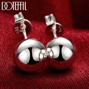 Smooth Bead Ball Stud Earrings