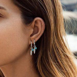 Fashion Silver Feather Drop Earrings