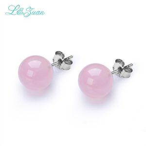 Pink Natural Rose Quartz Earrings