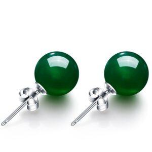 Natural Green Agate Stud Earrings