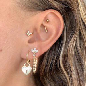 Cubic Zircon Chain Stud Earrings