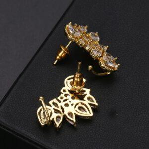 CZ Zirconia Crystal Flower Earrings