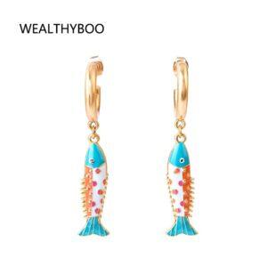 Enamel Kiss Fish Pendant Earrings