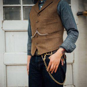 Wedding Wool Tweed Business Vest