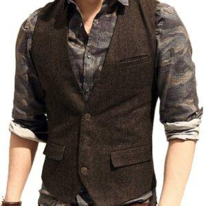 Wool Tweed Vest Casual Waistcoat