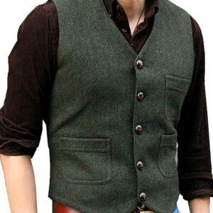 Tweed Business Vest Victorian Waistcoat