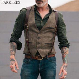 Wool Tweed Victorian Suit Vests