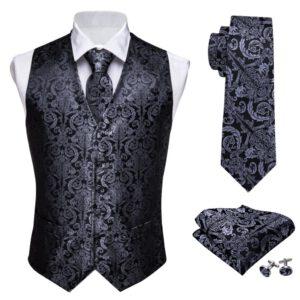 Classic Floral Vest Silk Waistcoat