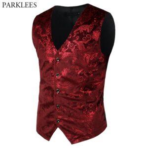Men Wedding Paisley Bronzing Vest