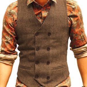 Herringbone Casual Formal Wool Vest