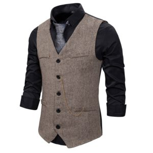 Casual Chain Business Tweed Vest