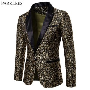Bronzing Floral Blazer Men Jacket