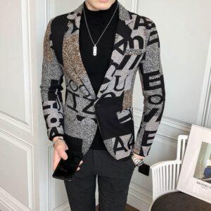 Letter Print Wool Tweed Blazer