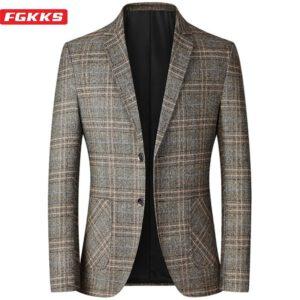 Spring Plaid Blazer Casual Suit