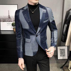 British Plaid Blazer Formal Suit