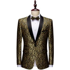 Floral Jacquard Blazers Tuxedo Suit