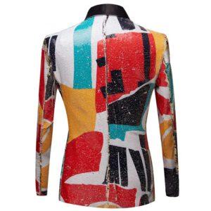 Geometric Pattern Blazer Sequin Suit