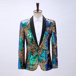 Floral Sequin Glitter Suit Blazer